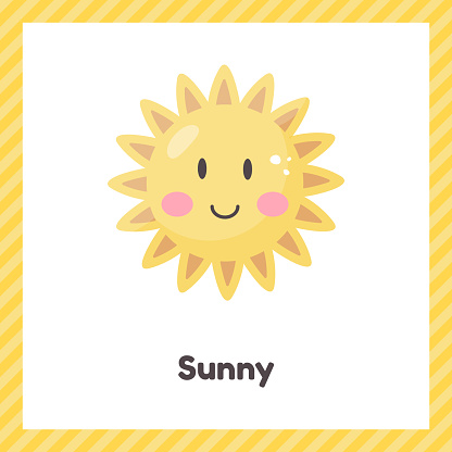 Sun. Cute weather sunny for kids. Flash card for learning with children in preschool, kindergarten and school.