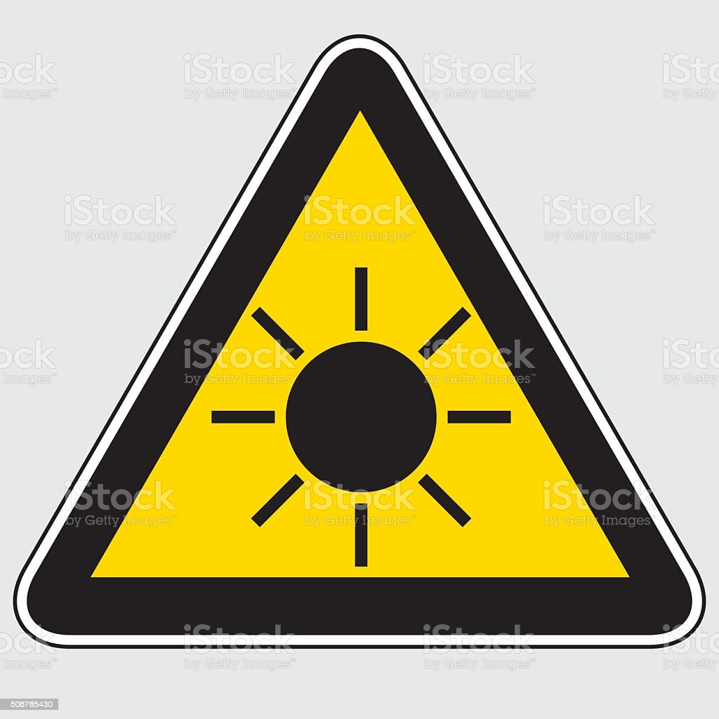 Sun Danger Sign vector art illustration