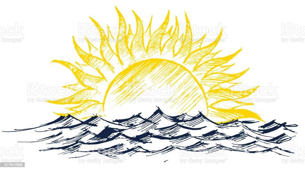 Sun Dawn Drawing In The Sea Stock Illustration - Download Image Now