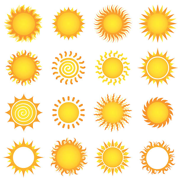 stockillustraties, clipart, cartoons en iconen met sun designs - zonnig