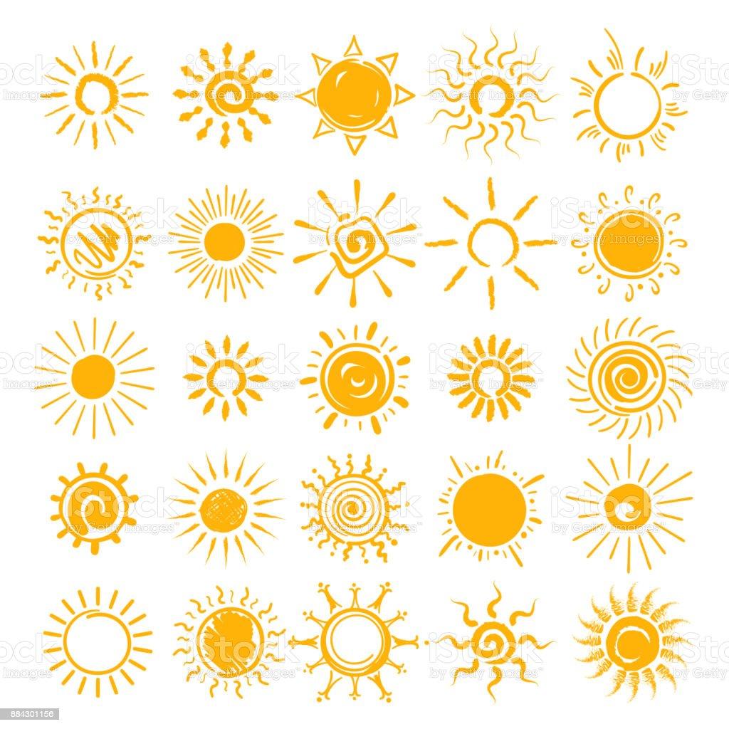Sun doodle icons set vector art illustration