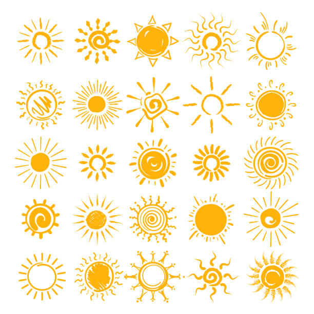 sun doodle icons set - sunburst stock illustrations, clip art, cartoons, & icons
