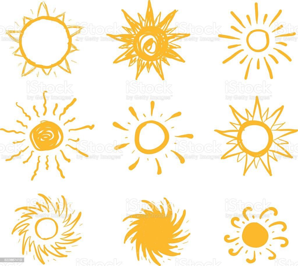 Sun drawn vector icons vector art illustration