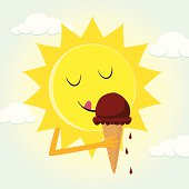 Retro styled illustration of a happy sun eating an ice cream cone.
