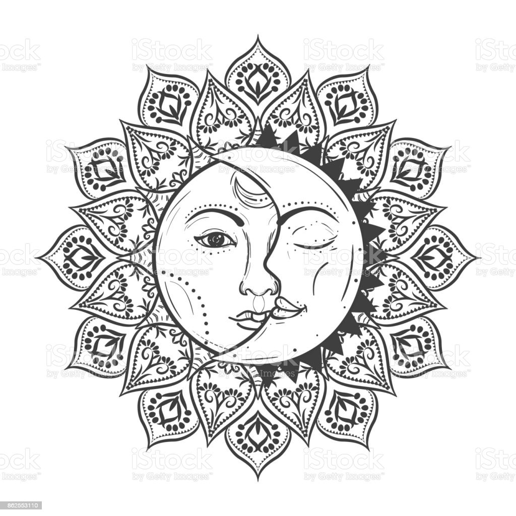 Sun eclipse concept. Vector illlustration of astronomy and astrology symbol.