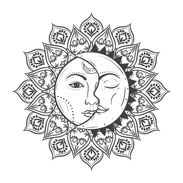 sun eclipse concept. vector illlustration of astronomy and astrology symbol. - moon stock illustrations, clip art, cartoons, & icons