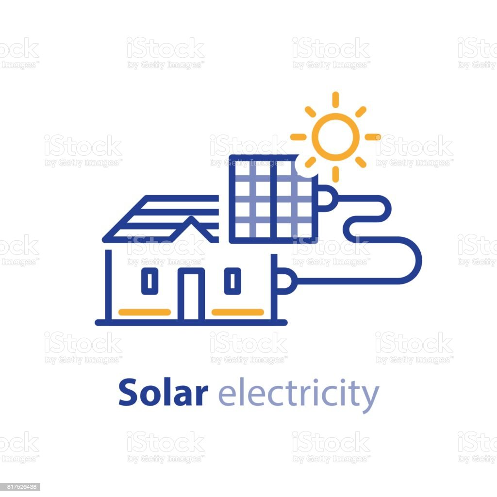 Sun Energy Solar Panels Home Solution Electricity Services Line Icon ...