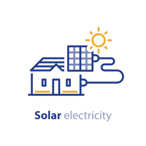 sun energy, solar panels, home solution, electricity services line icon - solar panels stock illustrations