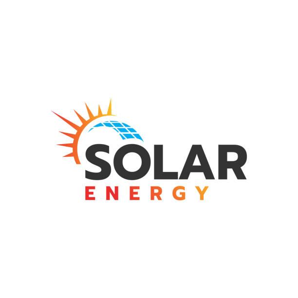 ilustrações de stock, clip art, desenhos animados e ícones de sun energy solar panels logo vector design for green energy and nature electricity symbol icon - solar panel