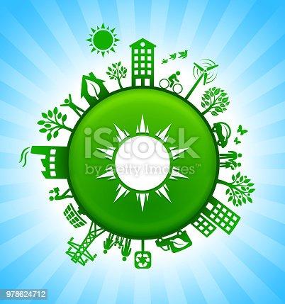istock Sun Environment Green Button Background on Blue Sky 978624712
