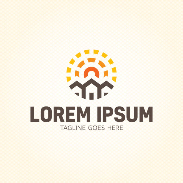 sun estate logo design template - real estate logos stock illustrations, clip art, cartoons, & icons