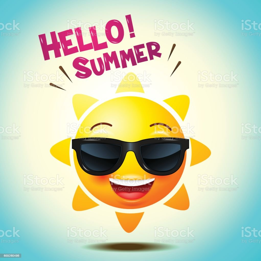 Sun Face Icons Or Yellow , Funny Faces In Realistic . Emojis . Hello Summer.
