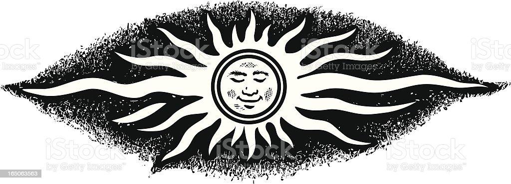 Sun face vector art illustration