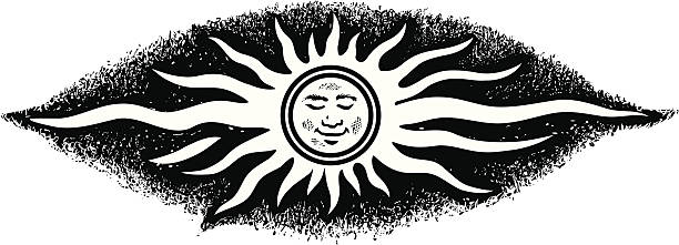 Sun face vector art illustration
