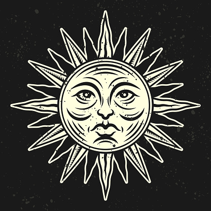 Sun face vector illustration in vintage style isolated on dark background. Design element for apparel design on astrological thematic