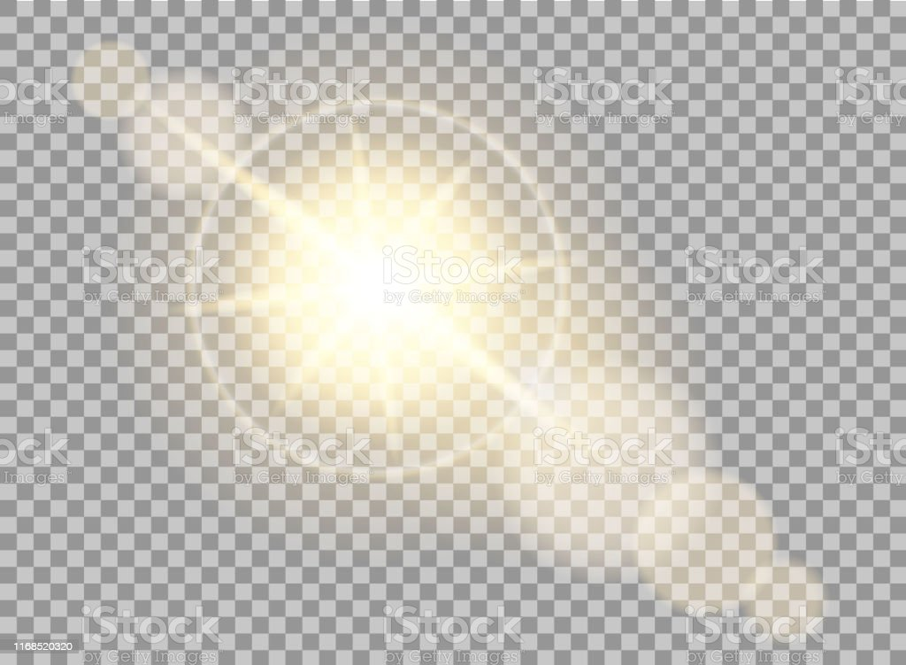 Sun flare effect in lenses. Glow of sunlight on transparent...