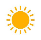 Sun flat design simple icon. Vector summer illustration.
