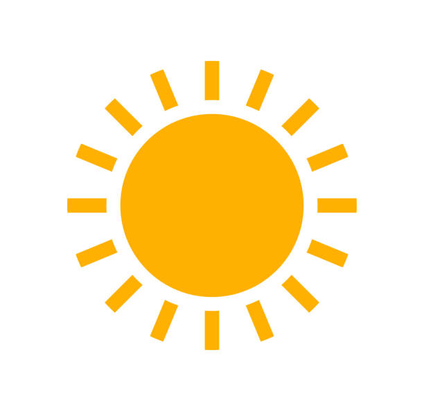 Sun flat design simple icon. Sun flat design simple icon. Vector summer illustration. sun stock illustrations