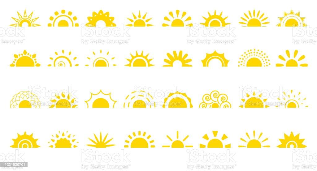 Sun flat icon logotipo sunrise summer web vector set - Vetor de Alemanha royalty-free