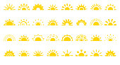Set of sun flat cartoon icon. Simple decorative elements for logotype sunrise, sunset. Graphic symbol different shapes, half sun with rays for design app weather. Isolated on white vector illustration