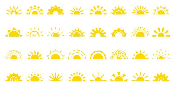 bildbanksillustrationer, clip art samt tecknat material och ikoner med sun platt ikon logotyp soluppgång sommar webb vektoruppsättning - sun