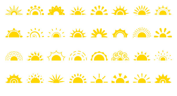Sun flat icon logo sunrise summer web vector set Set of sun flat cartoon icon. Simple decorative elements for logotype sunrise, sunset. Graphic symbol different shapes, half sun with rays for design app weather. Isolated on white vector illustration sunlight stock illustrations