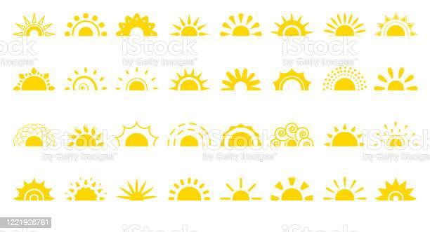 Vetores de Sun Flat Icon Logotipo Sunrise Summer Web Vector Set e mais imagens de Alemanha