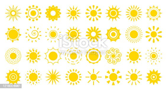 Sun flat cartoon icon set. Abstract different shape summer symbol. Simple banner template decorative element for logo. Sign happy morning, weather, spring season. Isolated on white vector illustration