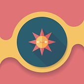sun flat icon with long shadow,eps10