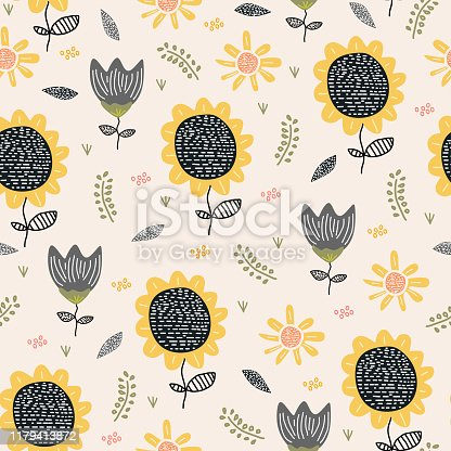 Sun flower pattern drawing background. Seamless hand drawn floral botanical design vector illustration for textile print.