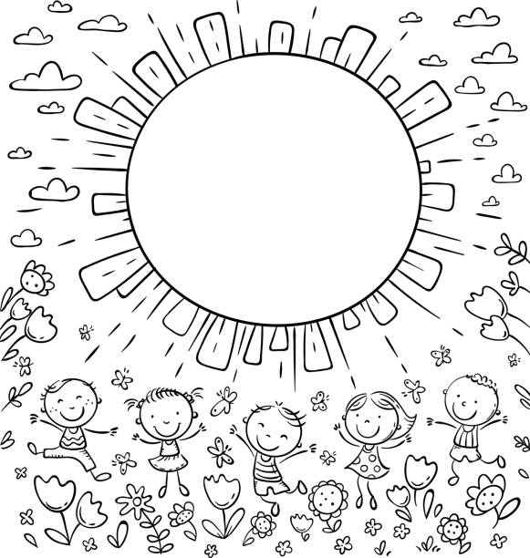 Sun frame with happy doodle kids and a round copy space vector art illustration