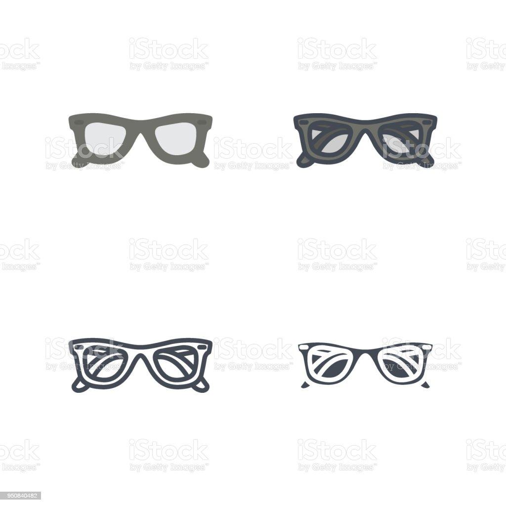 cfd06680fc0b4e Soleil lunettes vêtements icône vecteur ligne colorée plat silhouette  soleil lunettes vêtements icône vecteur ligne colorée