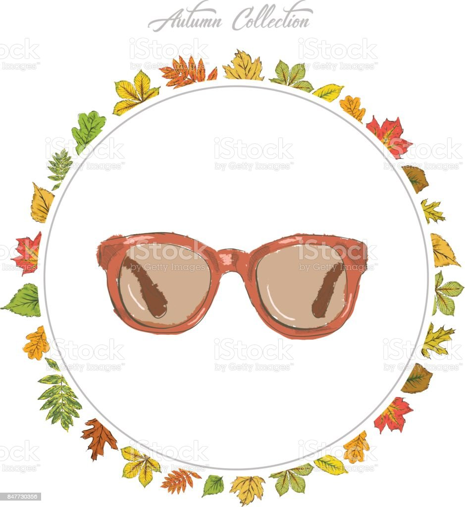 Sun glasses, Hand draw accessories. Autumn collection. Frame of autumn leaves. Vector illustration. vector art illustration