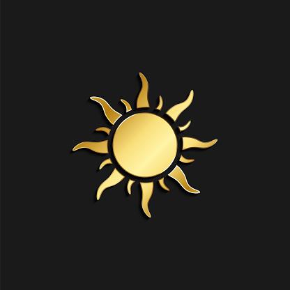 sun gold icon. Vector illustration of golden style. Summer time on dark background