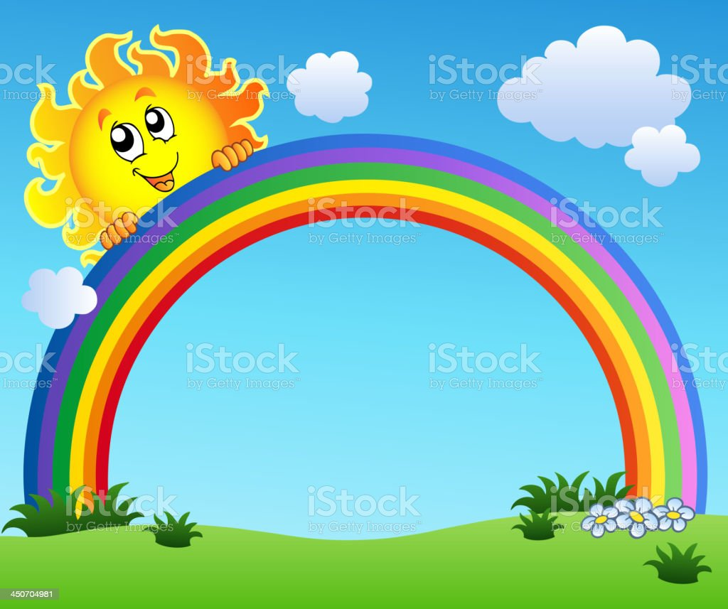 Sun holding rainbow on blue sky royalty-free stock vector art