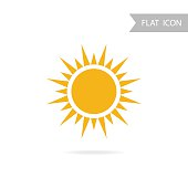 Sun Icon and Design Element isolated on White Background.