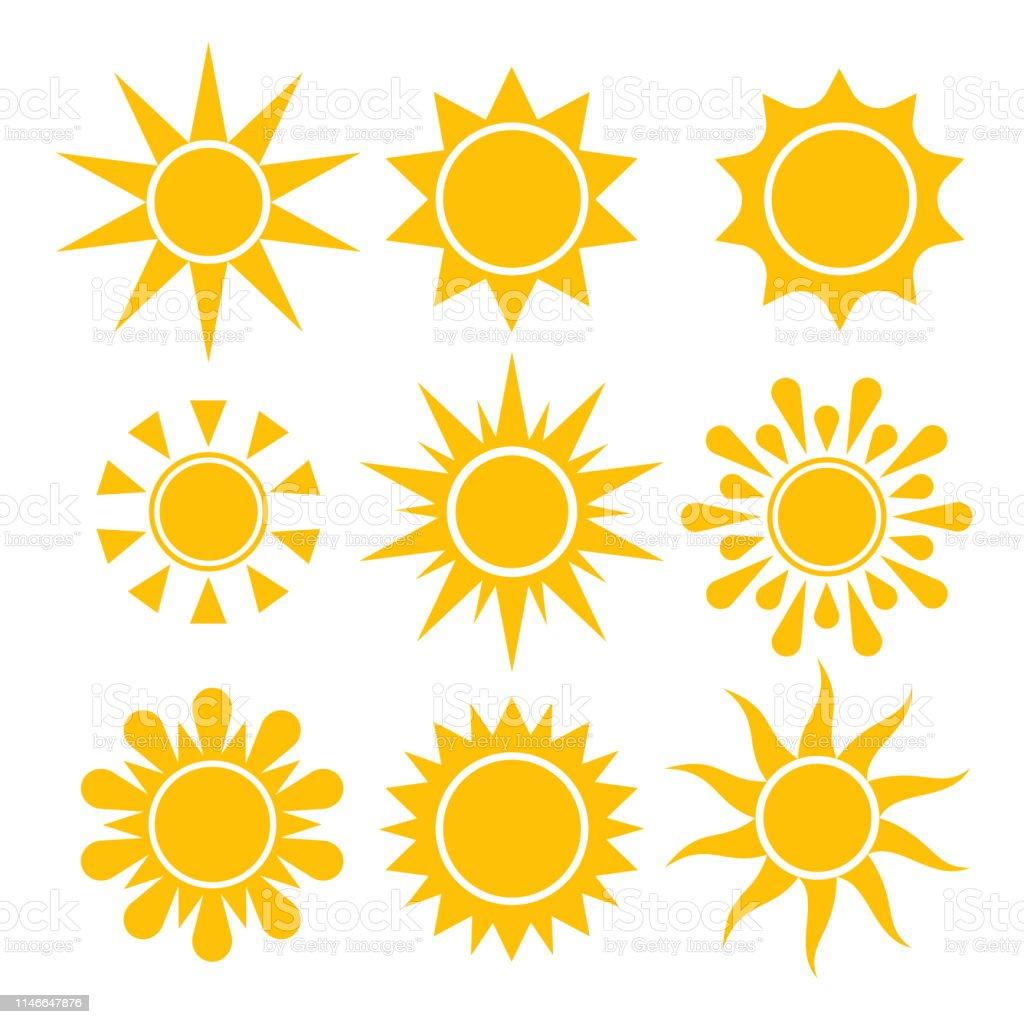 Coleção do ícone de Sun. Símbolos solares isolados vetor. - Vetor de Amarelo royalty-free