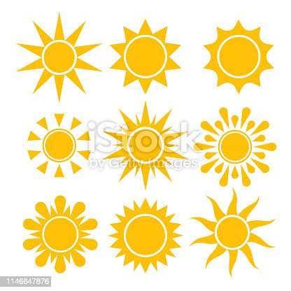 Sun icon collection. Vector isolated solar symbols.