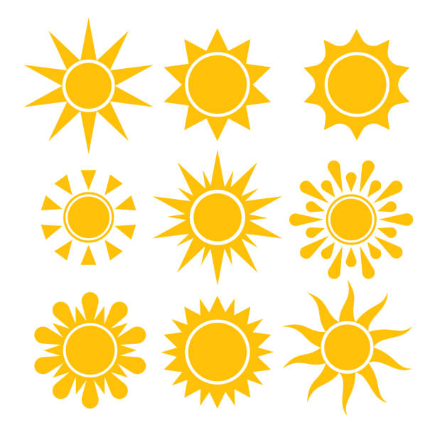 sun icon collection. vector isolierte sonnensymbole. - sonne stock-grafiken, -clipart, -cartoons und -symbole