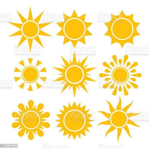 Vetores de Coleção Do Ícone De Sun Símbolos Solares Isolados Vetor e mais imagens de Amarelo