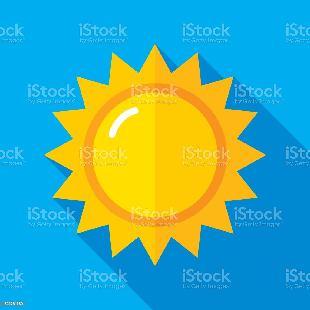 Sun Icon Flat vector art illustration