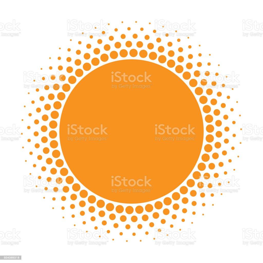 Sun icon. Halftone orange circle with gradient  texture circles logo design element. Vector illustration royalty-free sun icon halftone orange circle with gradient texture circles logo design element vector illustration stock illustration - download image now