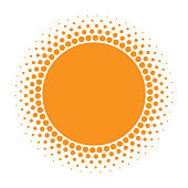 Sun icon. Halftone orange circle with gradient  texture circles logo design element. Vector illustration