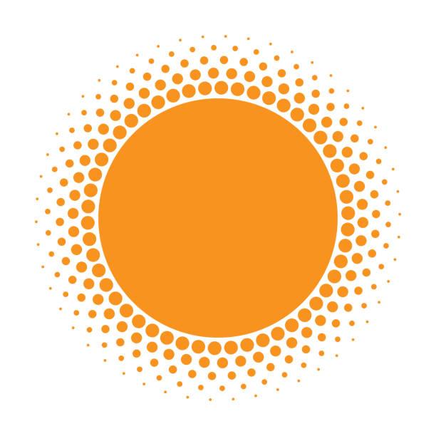 sun icon. halftone orange circle with gradient  texture circles logo design element. vector illustration - sunburst stock illustrations, clip art, cartoons, & icons