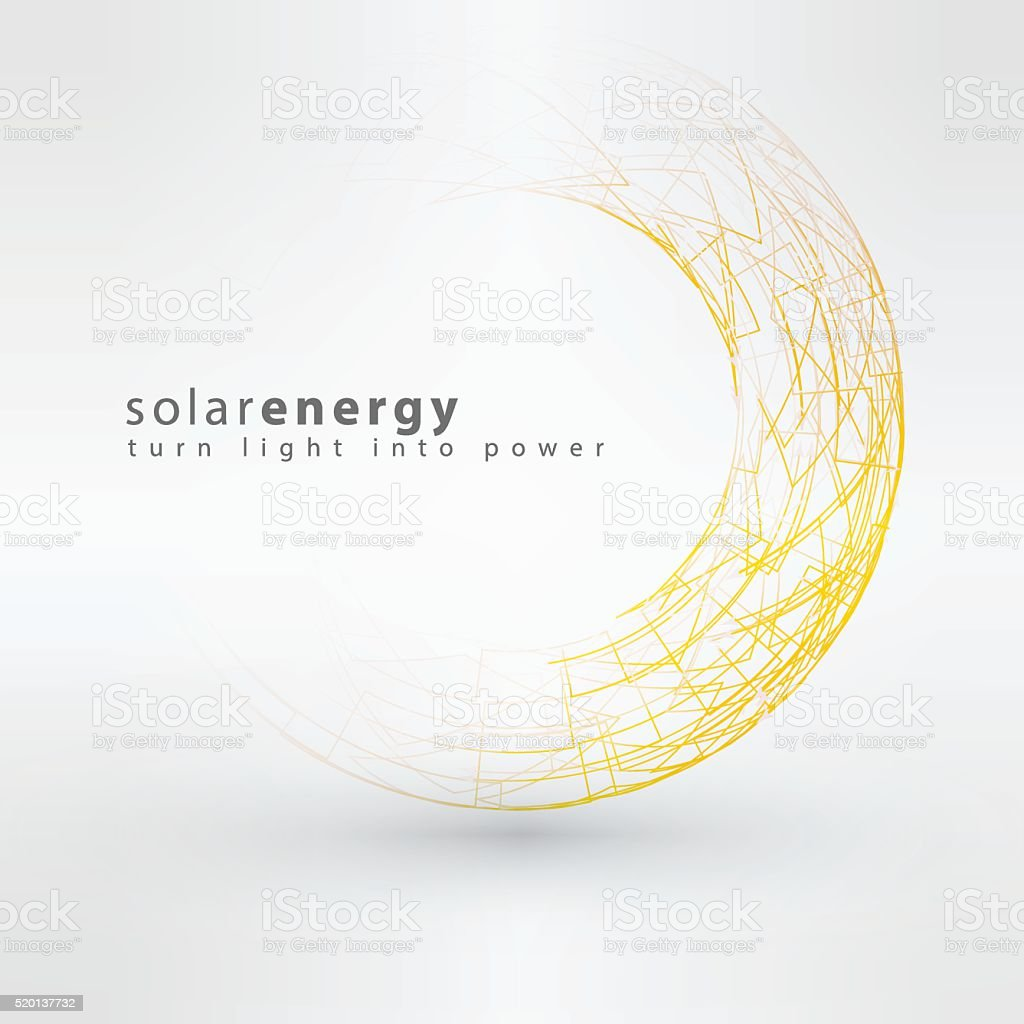Sun icon made from power symbols. Solar energy logo design vector art illustration