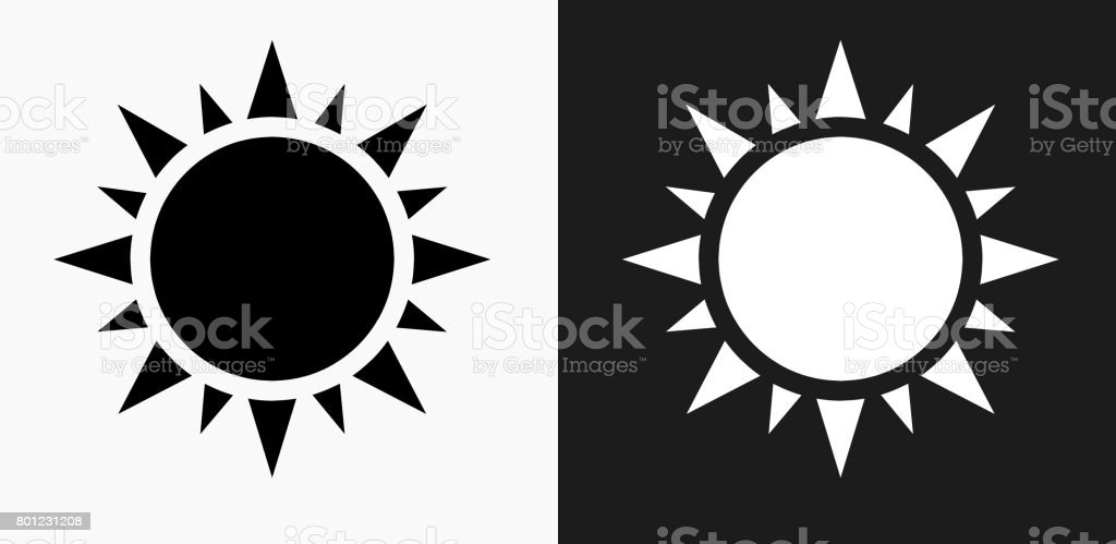 Sun Icon on Black and White Vector Backgrounds vector art illustration