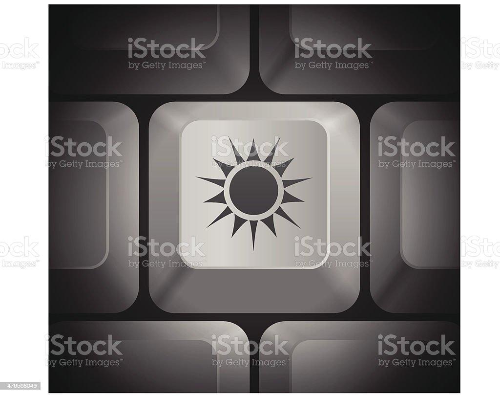 Sun Icon on Computer Keyboard royalty-free stock vector art