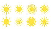 Sun icon set. Star logo icon. For summer, nature, sky, summer. Sun silhouette. Isolated vector illustration