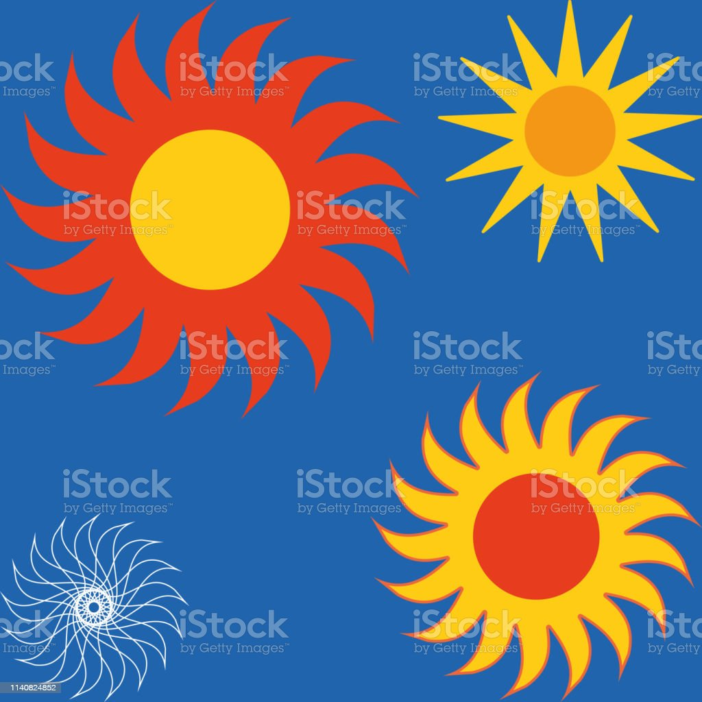 Sun icon set vector eps10. Set of yellow icons of the sun, isolated on blue background. royalty-free sun icon set vector eps10 set of yellow icons of the sun isolated on blue background stock illustration - download image now