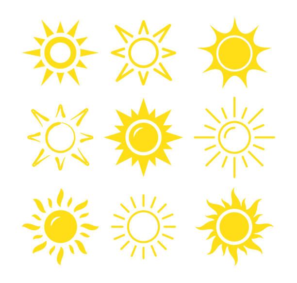 ilustrações de stock, clip art, desenhos animados e ícones de sun icon set - sol